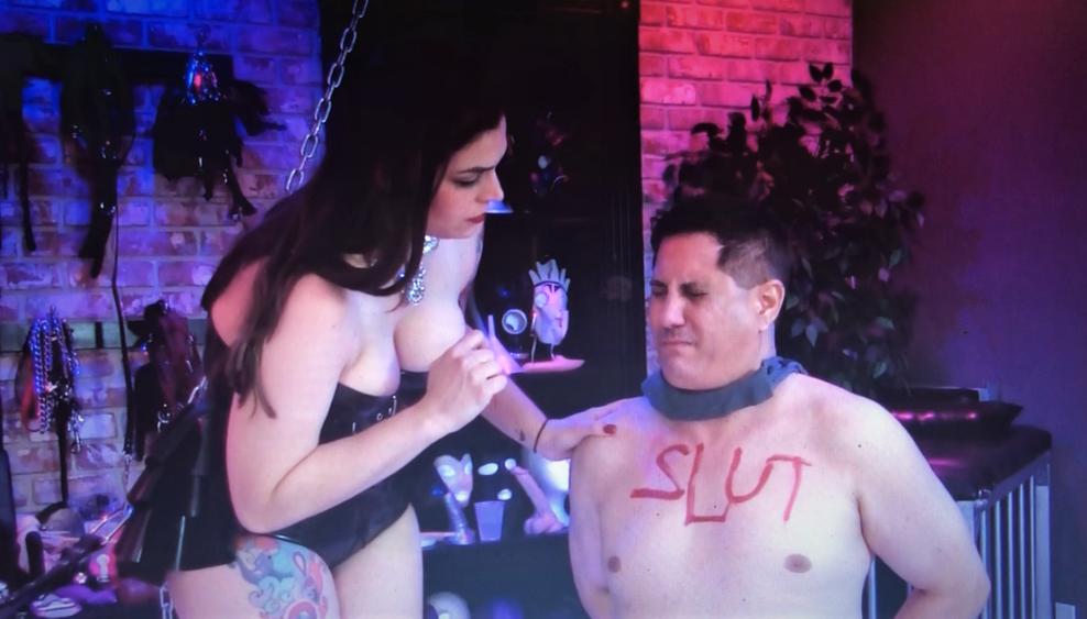 Mistress Pomf humiliating Her sissy slut.