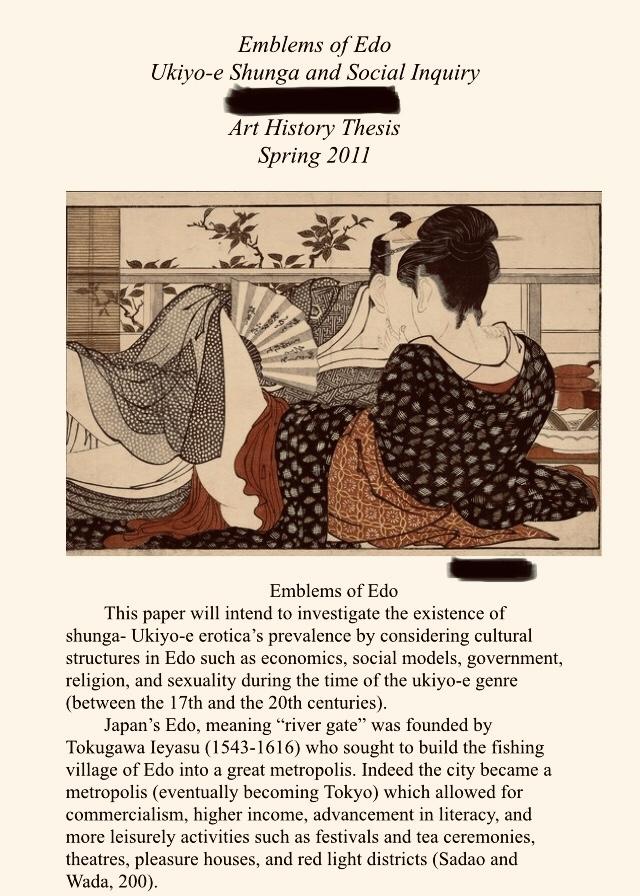 Emblems of Edo, Ukiyo-e Shunga and Social Inquiry Art History Thesis Cover Page