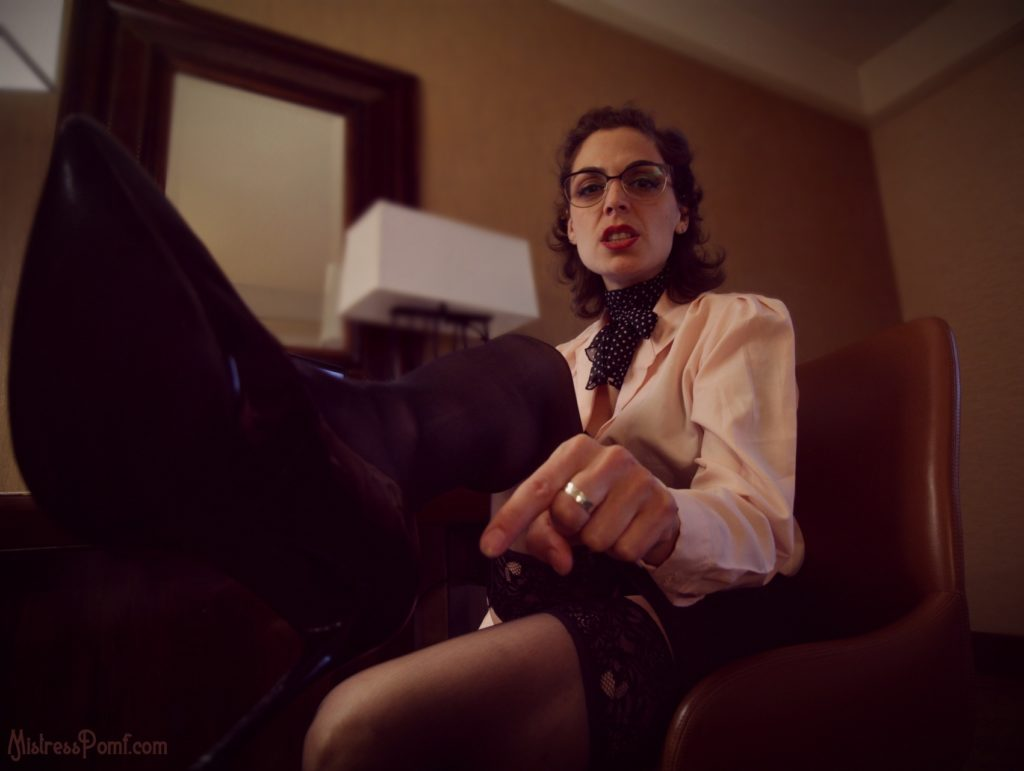 Florida Dominatrix Mistress Pomf roleplays as the Secretary in an erotic blackmail fetish scene.